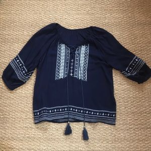 Tops - Navy Blue Blouse with White Detailing